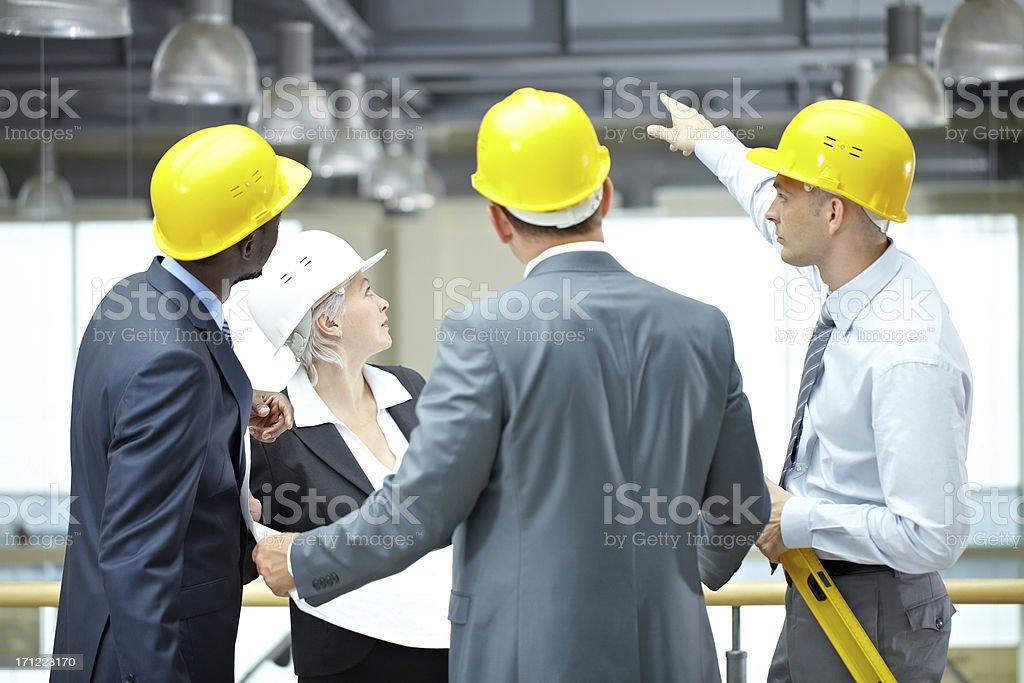 Excursion at construction site stock photo