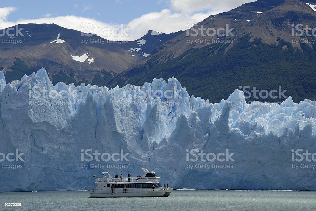 Excursion ship near the Perito Moreno Glacier in Patagonia, Argentina. stock photo