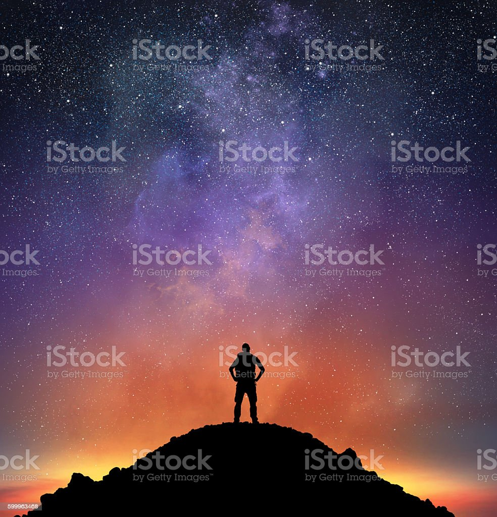 Excursionist observe a bright sky stock photo