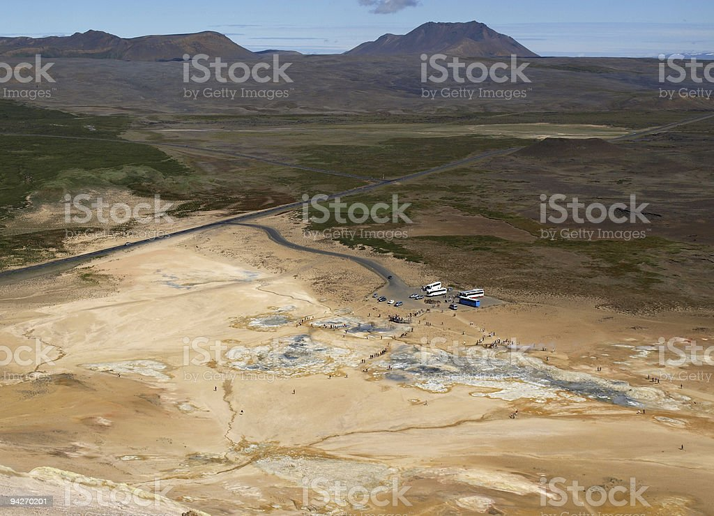 Excursions in Namafjall geothermal area royalty-free stock photo