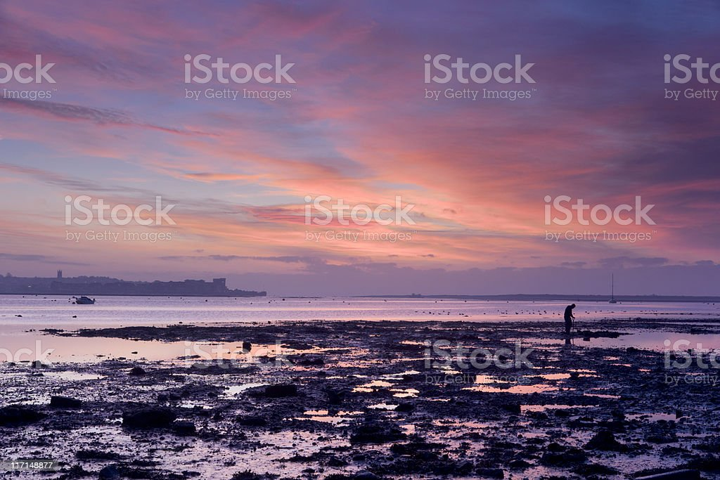 Exe estuary at colourful sunrise with man digging royalty-free stock photo