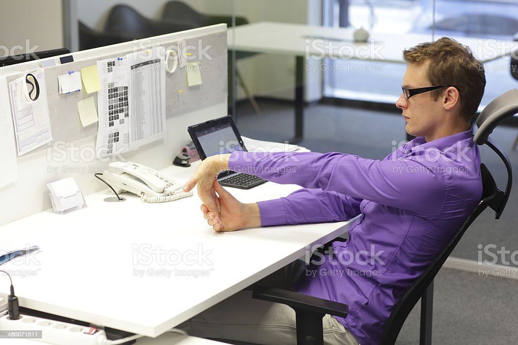 execises in office stock photo