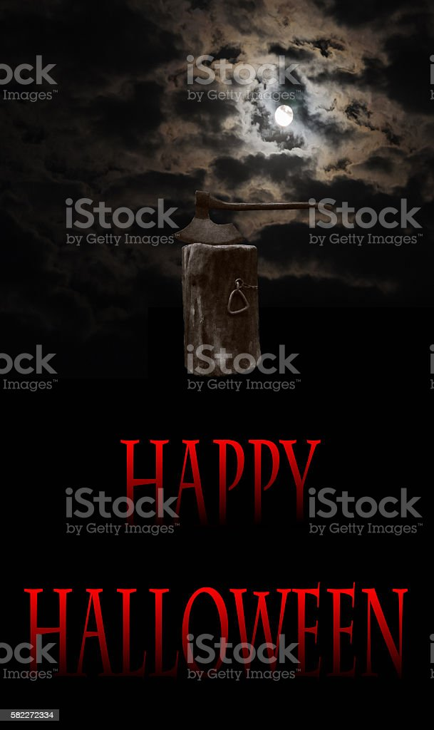 executioner's ax on the block  halloween abstract background stock photo