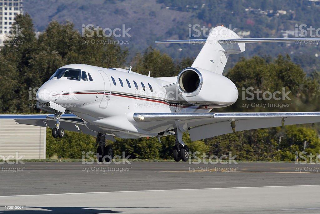Executive Aircraft Landing stock photo