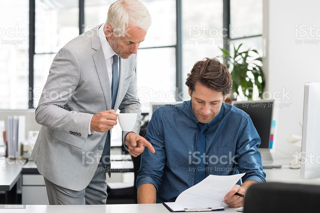 Executive and businessman working stock photo