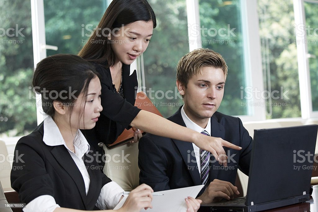 executive discussion in office stock photo