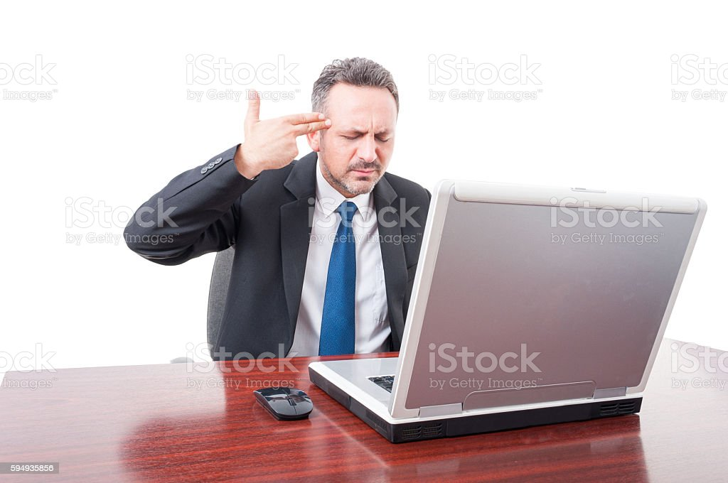Executive manager gesturing hand gun stock photo