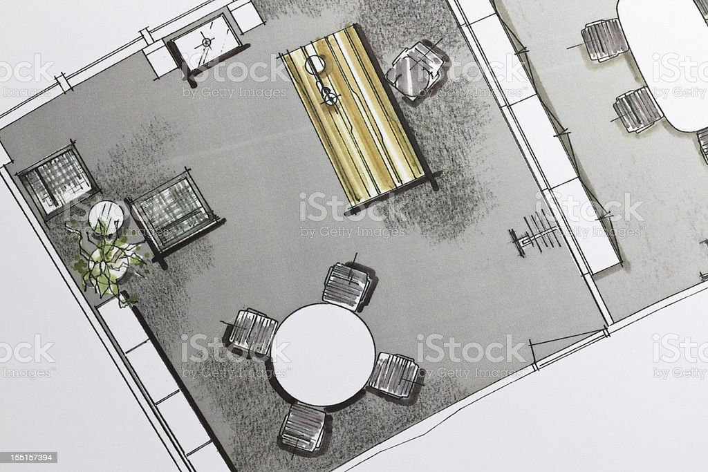 Executive Office Design Drawing royalty-free stock photo