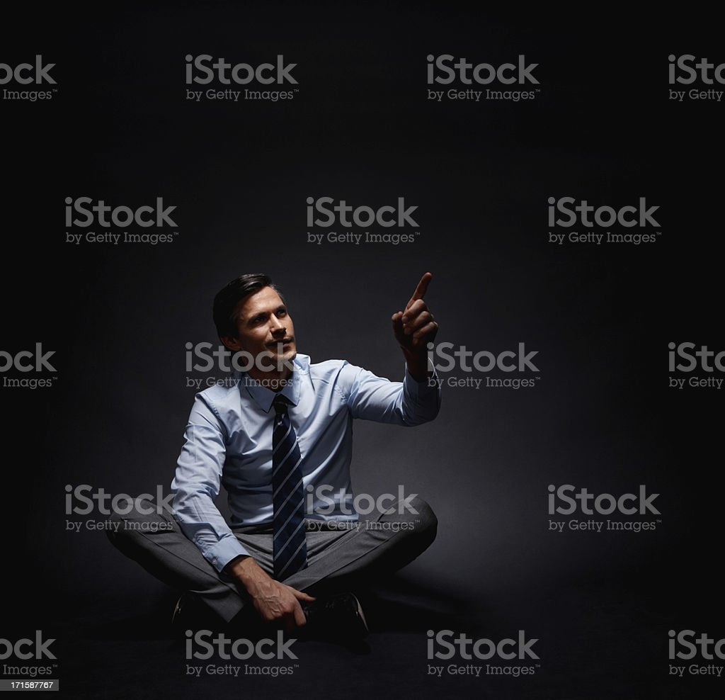 Executive pointing up royalty-free stock photo