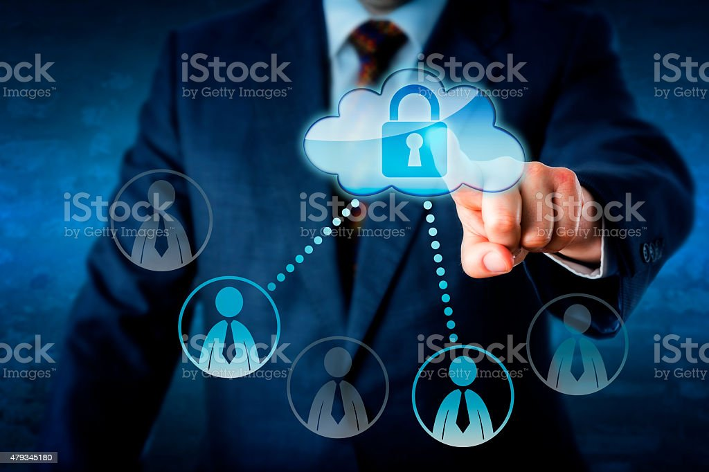 Executive Touching Locked Cloud Linked To Peers stock photo