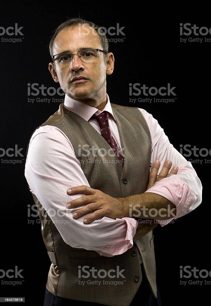 Executive wearing a waistcoat stock photo