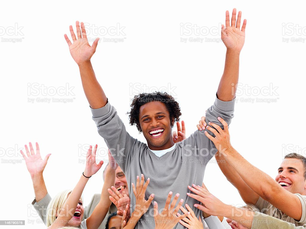 Executives cheering their colleague in success royalty-free stock photo