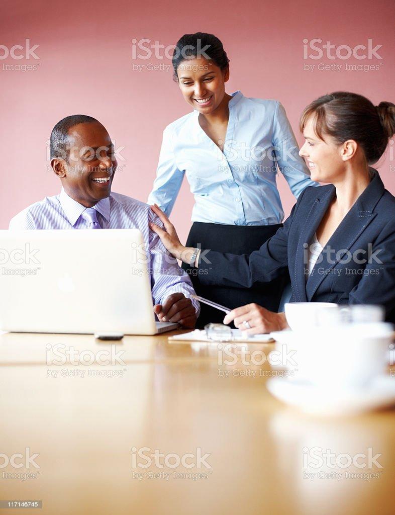 Executives enjoying their brainstorming session royalty-free stock photo