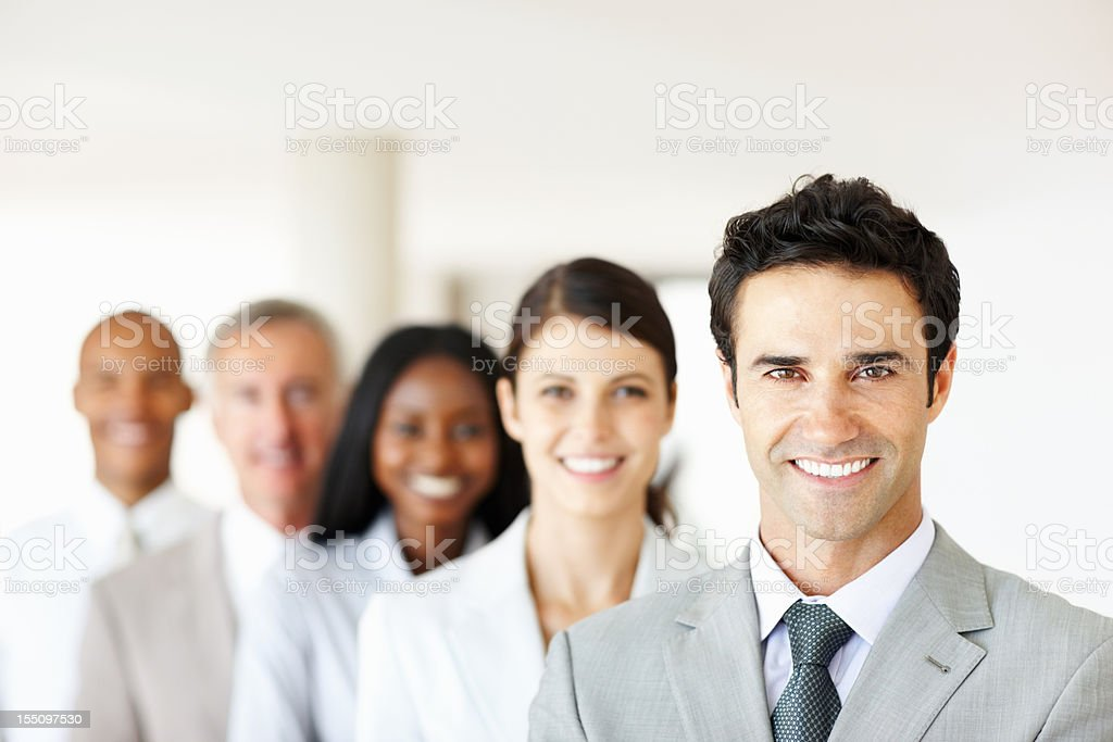 Executives smiling in office royalty-free stock photo