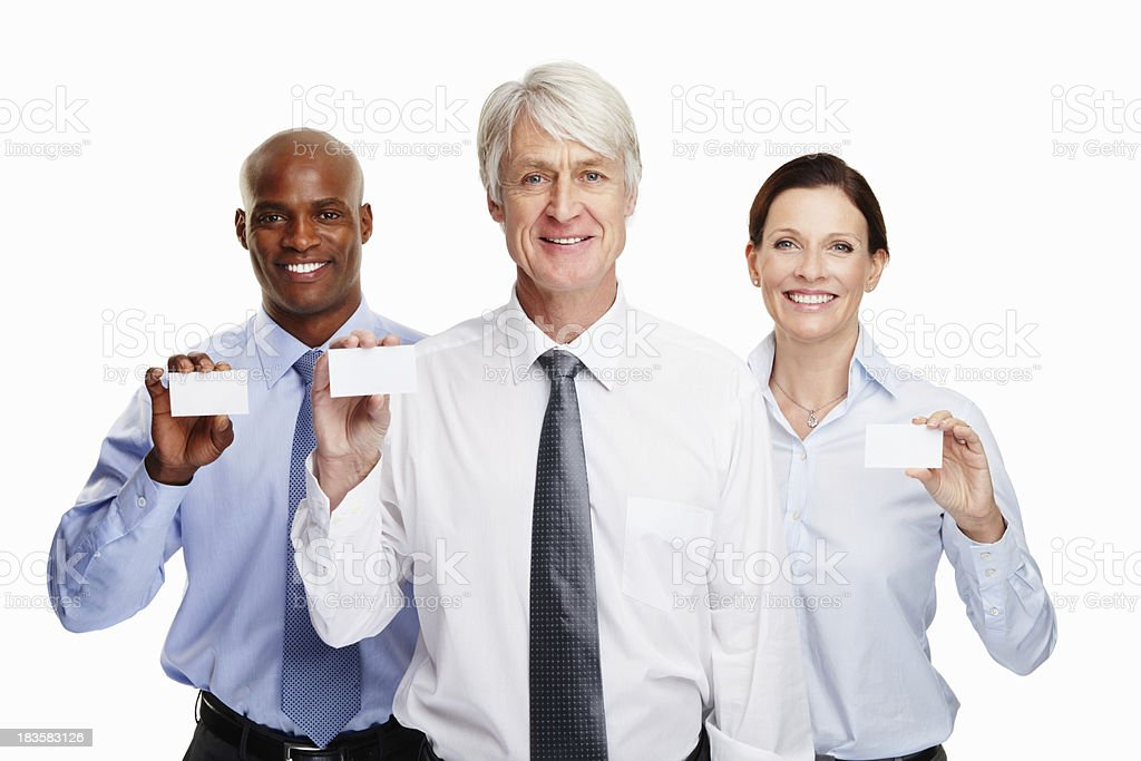 Executives with name cards royalty-free stock photo