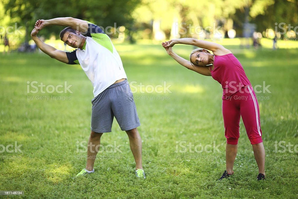 Exercining in park royalty-free stock photo