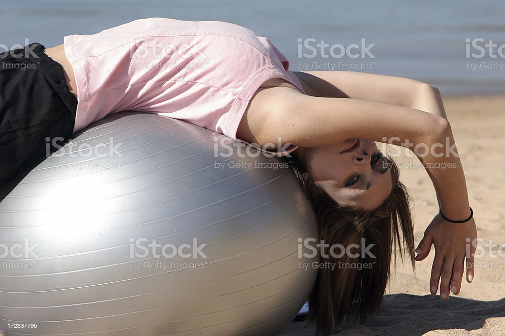 Exercise Ball Back Stretch stock photo