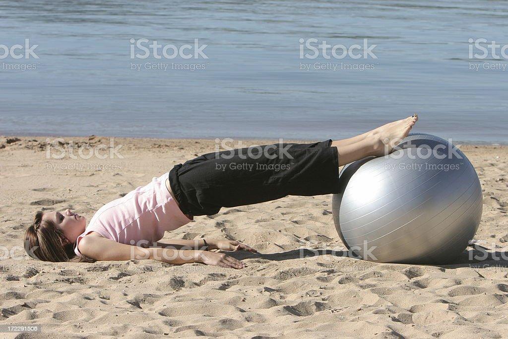 Exercise Ball Leg Lift 1 of 2 stock photo