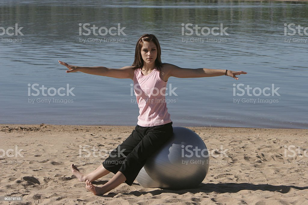 Exercise Ball Toe Touch 2 of 3 stock photo