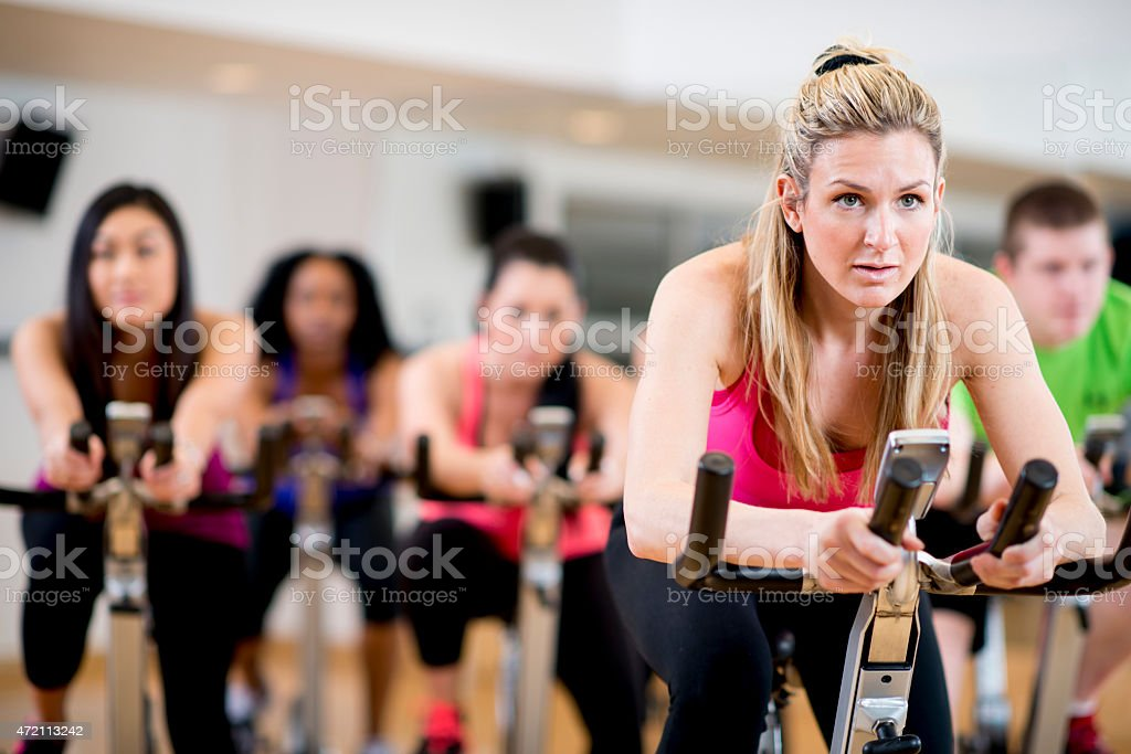 Exercise Bicycle Class stock photo
