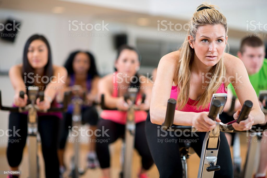 Spin Class at the Gym stock photo