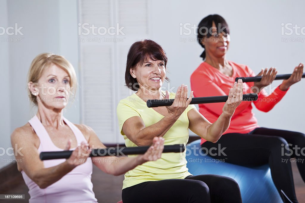 Exercise class using fitness balls royalty-free stock photo