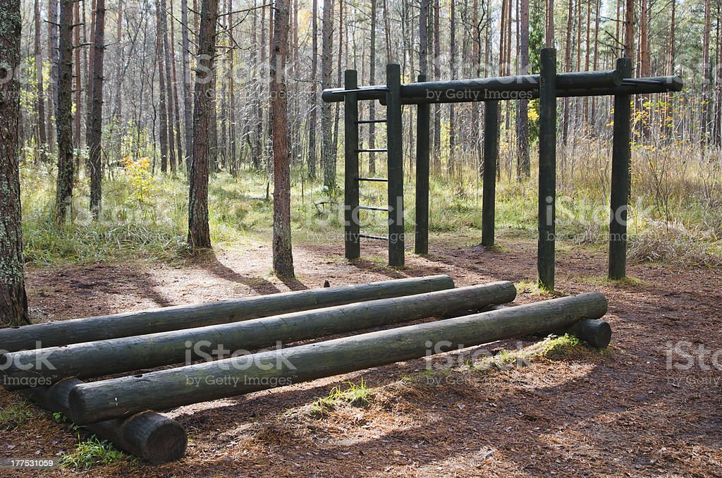 Exercise equipment  of logs  in a forest park royalty-free stock photo
