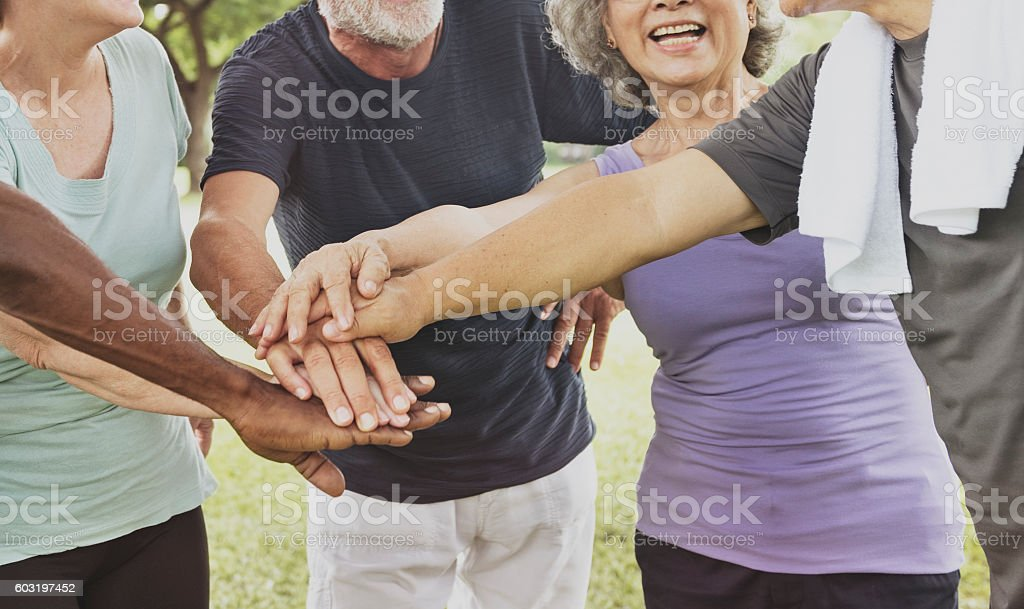 Exercise Healthy Lifestyle Fit Retired Elderly Concept stock photo