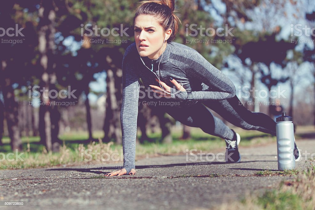 Exercise in forest stock photo