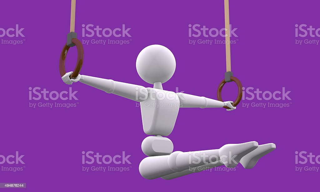 Exercise in the sports rings stock photo