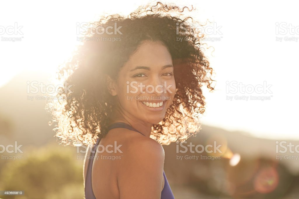 Exercise keeps me feeling great! stock photo