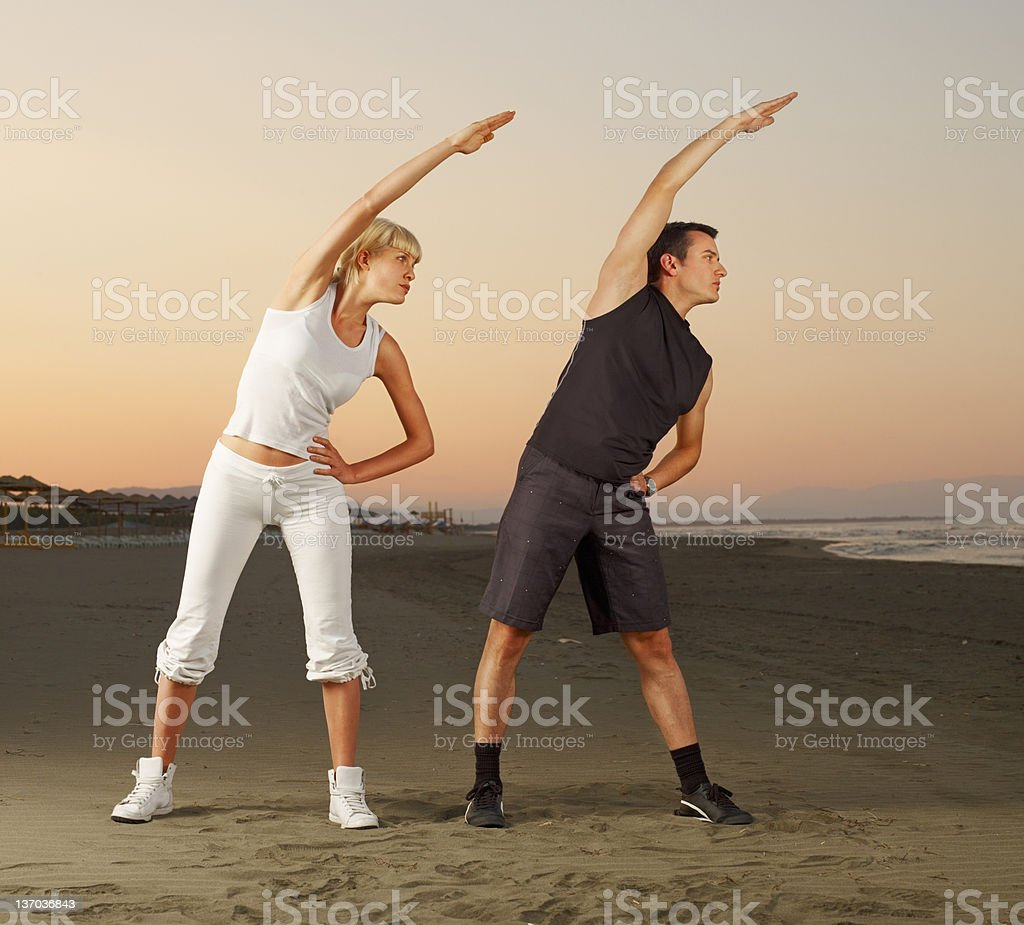 exercise on he beach royalty-free stock photo