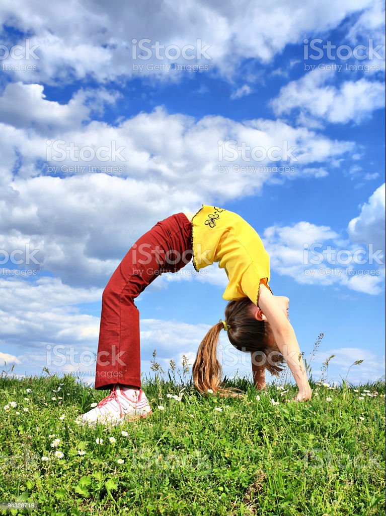 Exercise on meadow royalty-free stock photo
