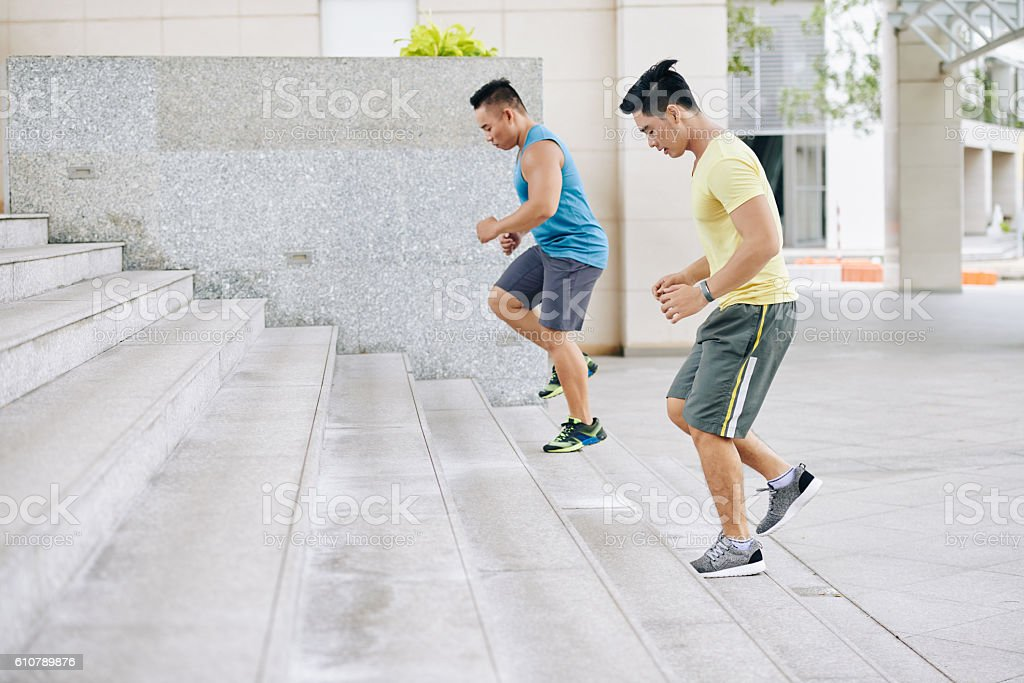 Exercise on staircase stock photo