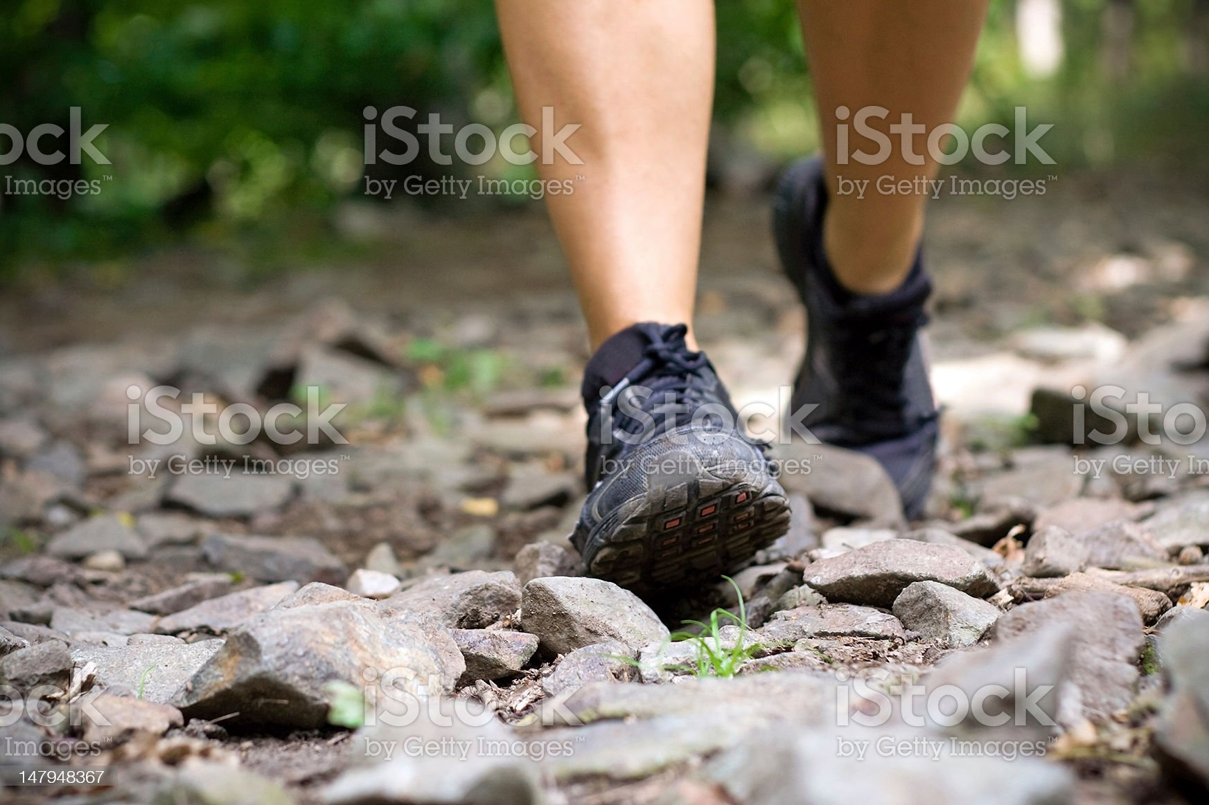 Exercise walking in mountains royalty-free stock photo