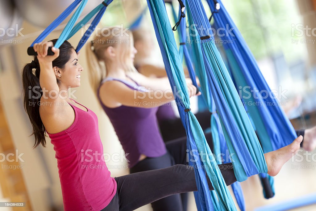 exercise with air yoga drapery bands royalty-free stock photo