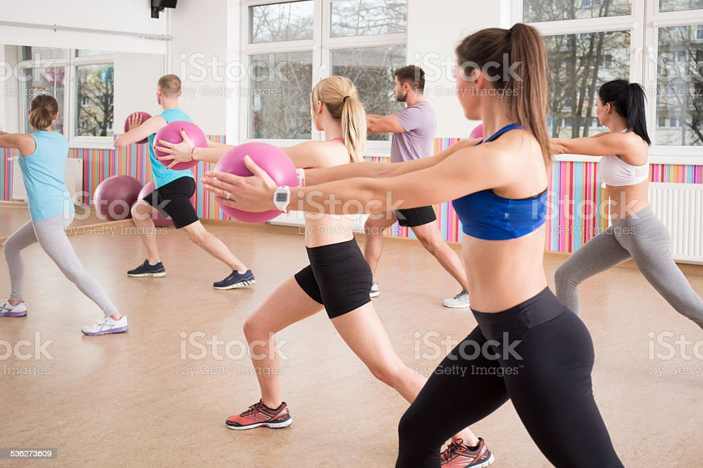 Exercise with ball stock photo