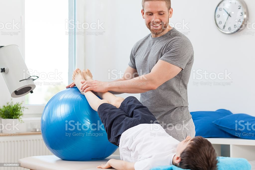 Exercise with large ball stock photo