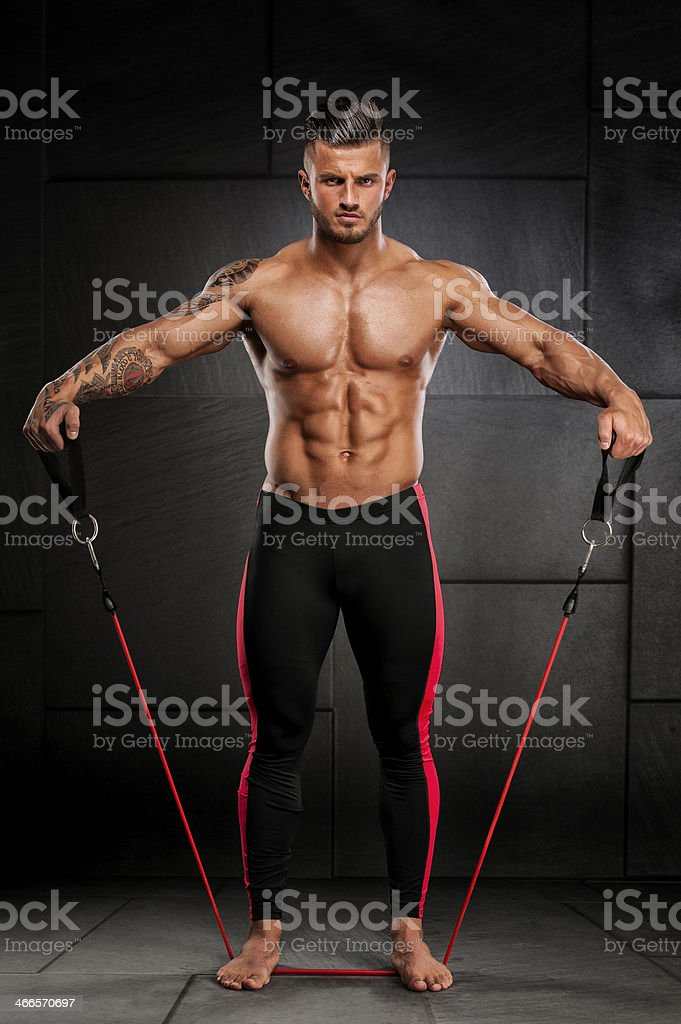 Exercise with Resistance Band stock photo