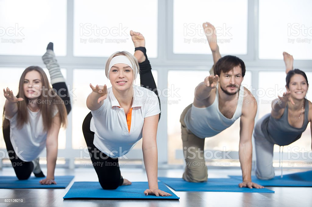 Exercises for buttocks in class stock photo