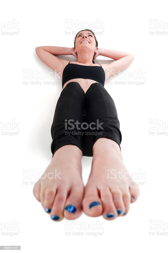 Exercises for stomach muscle stock photo