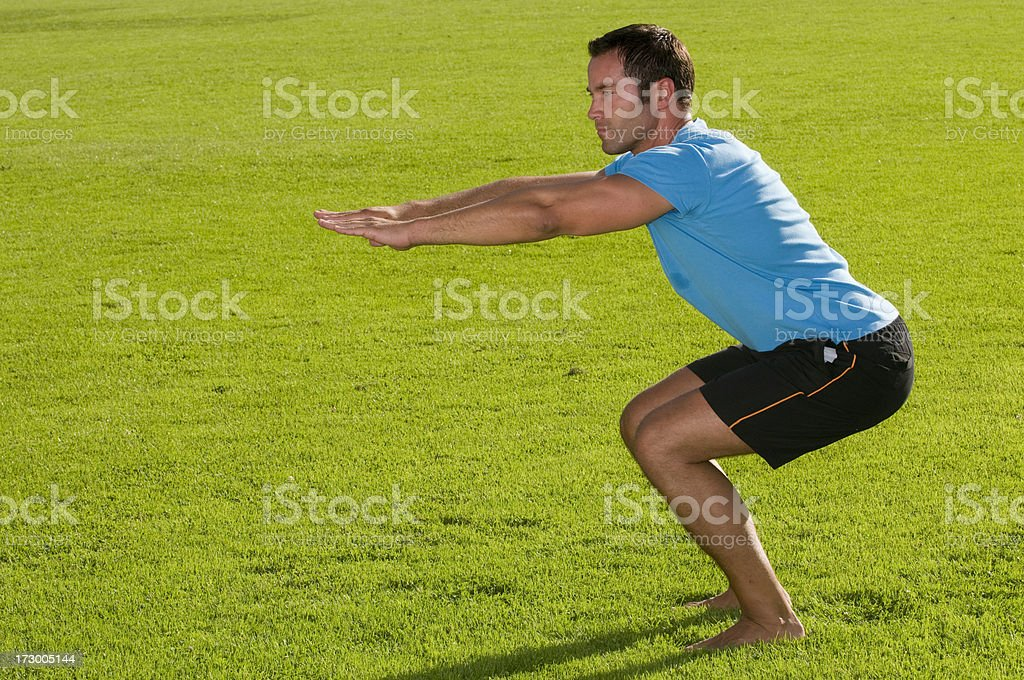 exercises in the grass royalty-free stock photo