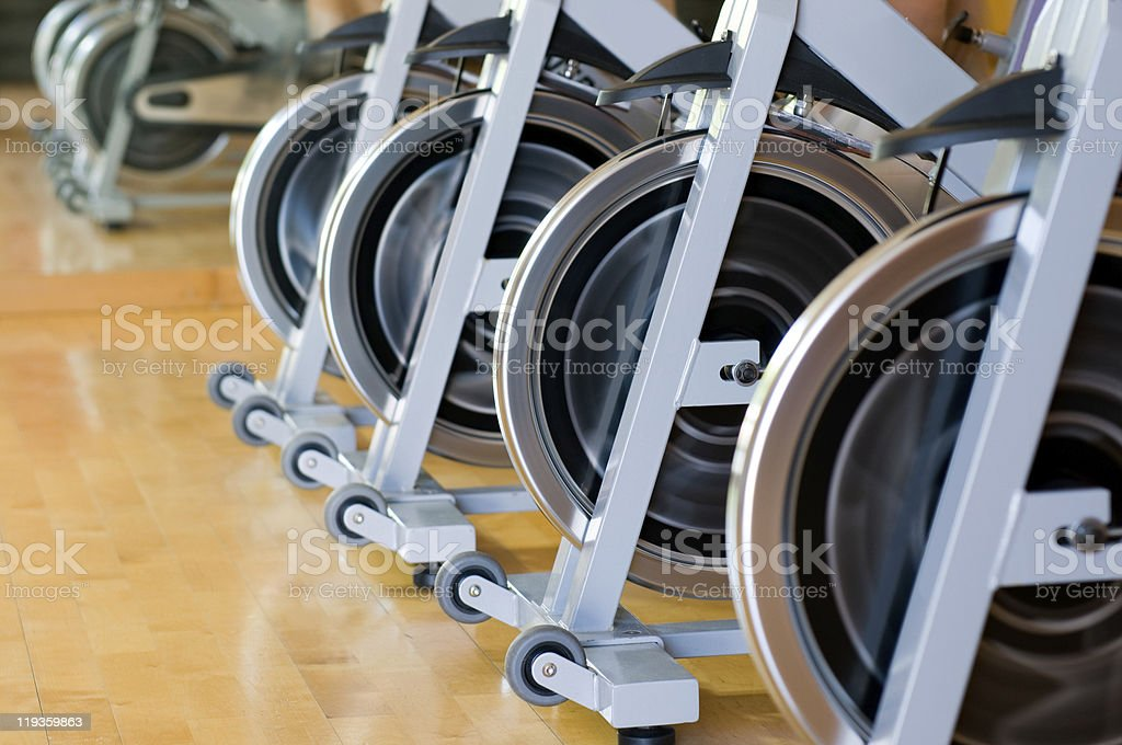 Spinning bicycles closeup stock photo