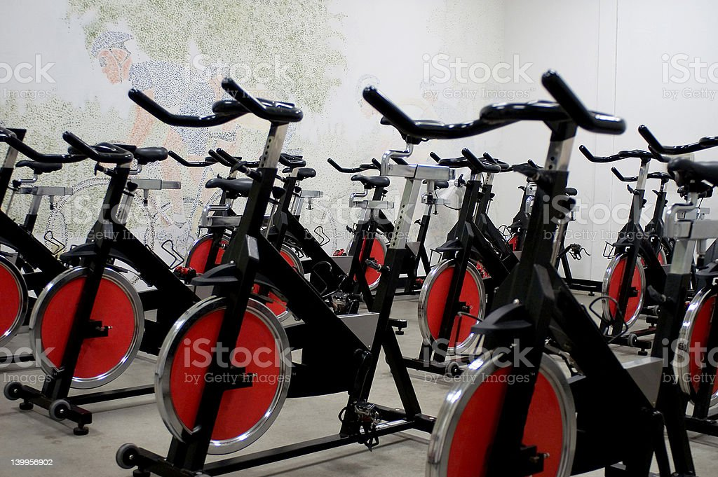 Spinning bikes stock photo