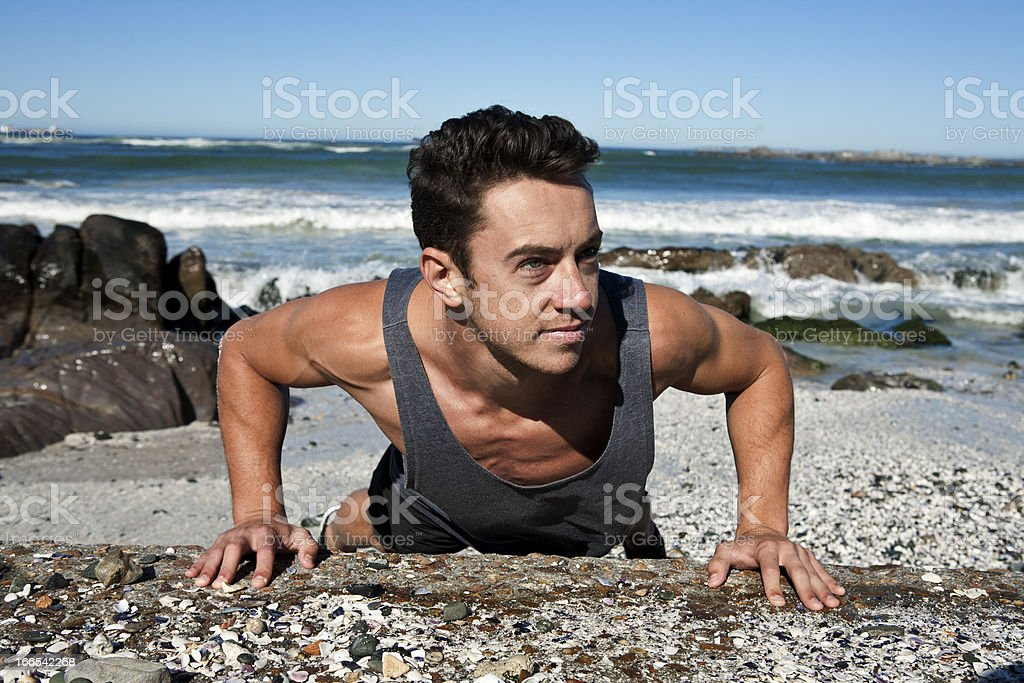 Exercising by the sea royalty-free stock photo