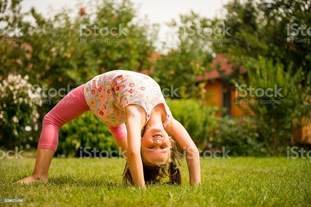Exercising child stock photo