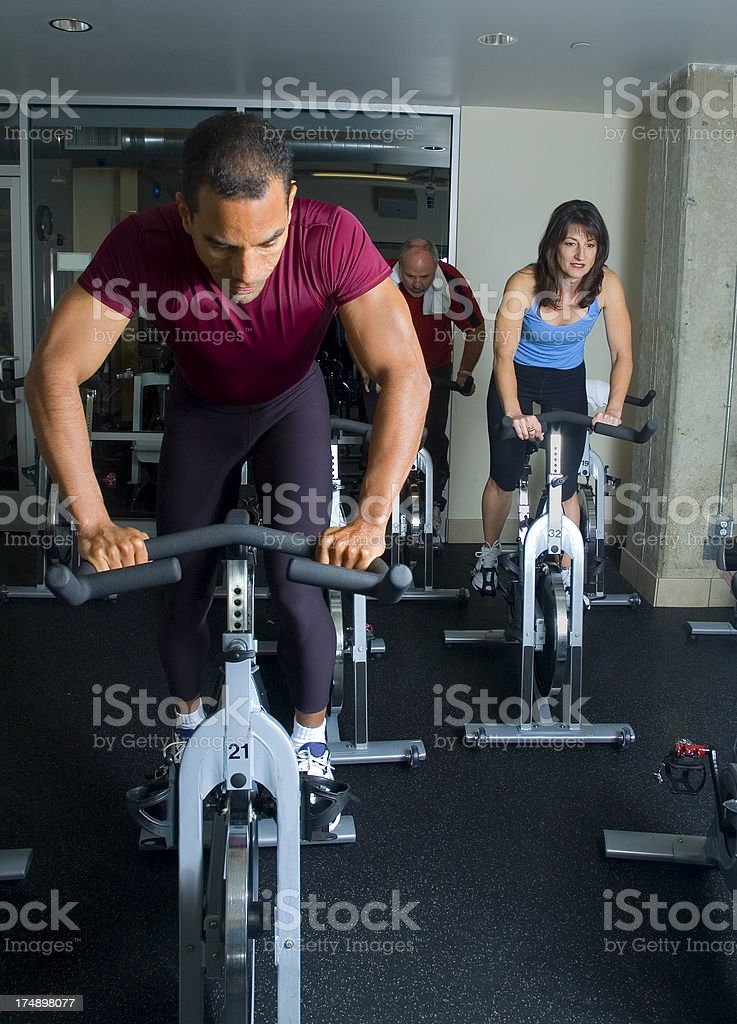 Spinning Class Cycling Training stock photo
