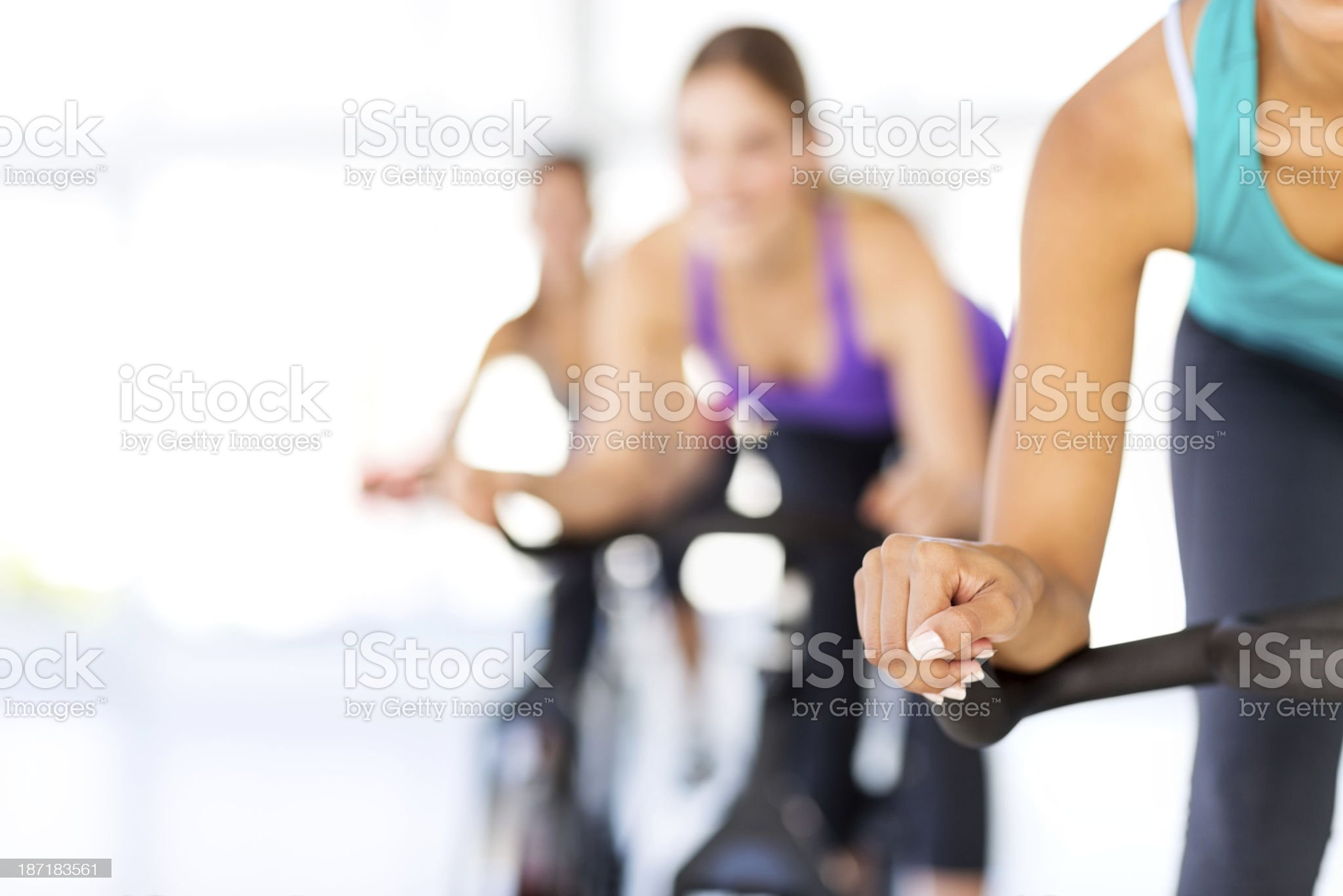 Spinning Class In Health Club royalty-free stock photo
