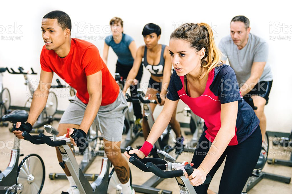 Spinning Class stock photo