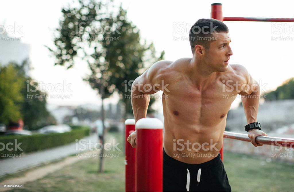 Exercising dips stock photo